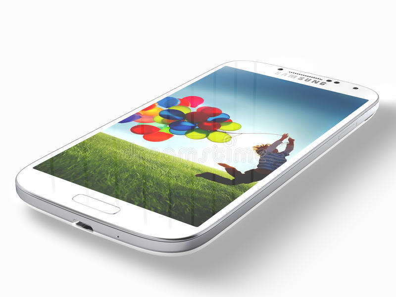 Samsung Galaxy S4. The Samsung Galaxy S4 handset steadily draws from the same design language as the S3, but takes almost every spec to an extreme -- the screen royalty free stock photography