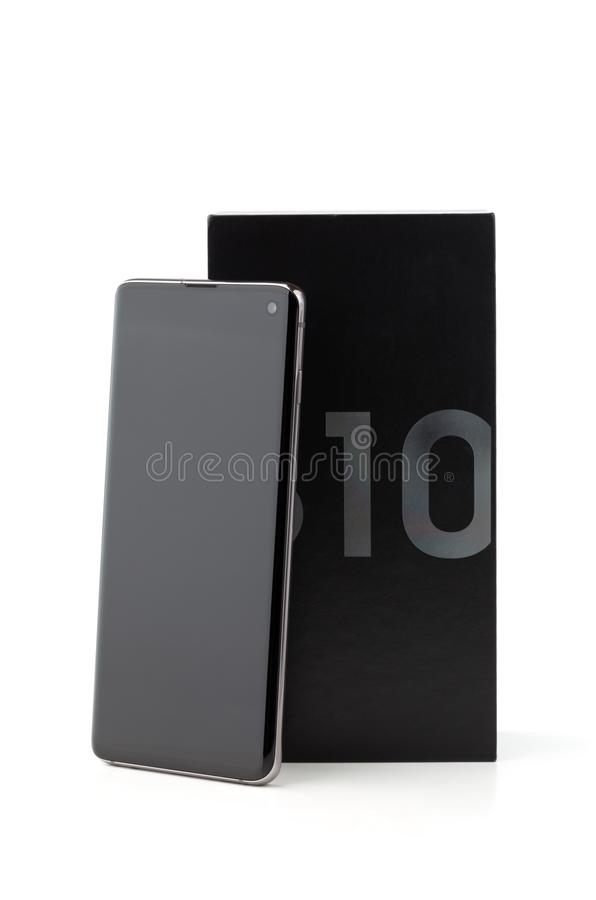 Samsung Galaxy S10 op een witte achtergrond stock afbeeldingen