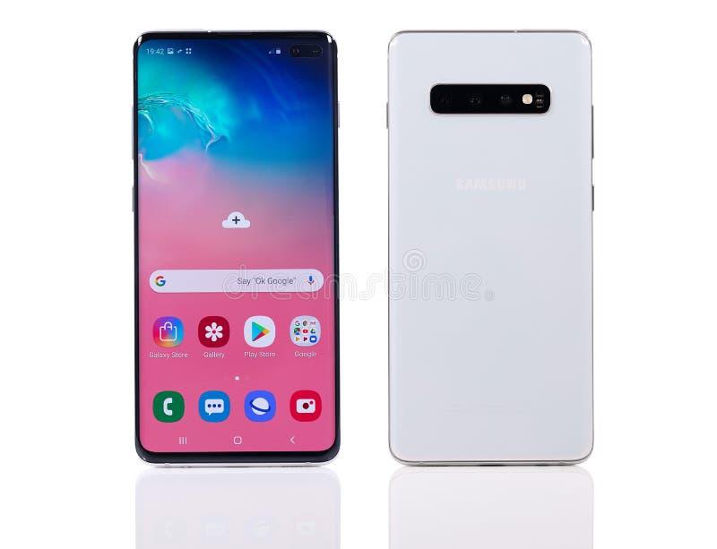 Samsung Galaxy S10 Plus telefon komórkowy obraz royalty free