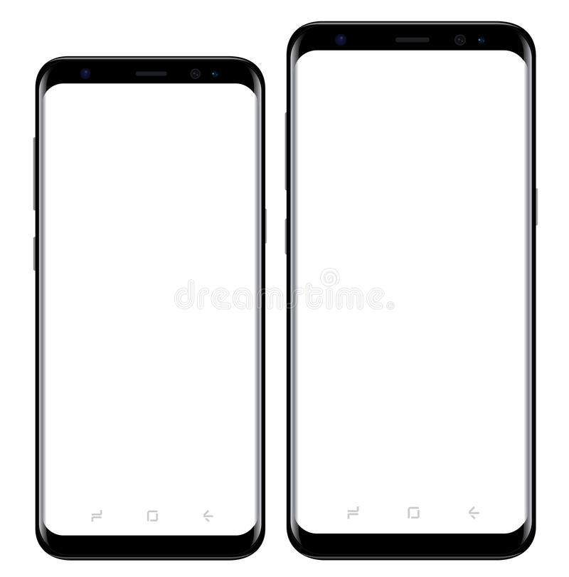 Samsung Galaxy S8 s8+. Modern mobile phone two sizes similar to Samsung Galaxy S8, S8+ vector eps 10