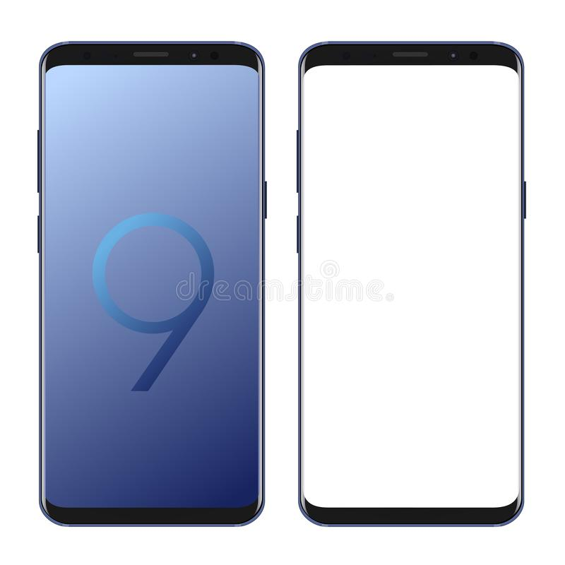 Samsung galaxy s9 set. Samsung galaxy s9 vector on white background eps 10 stock illustration