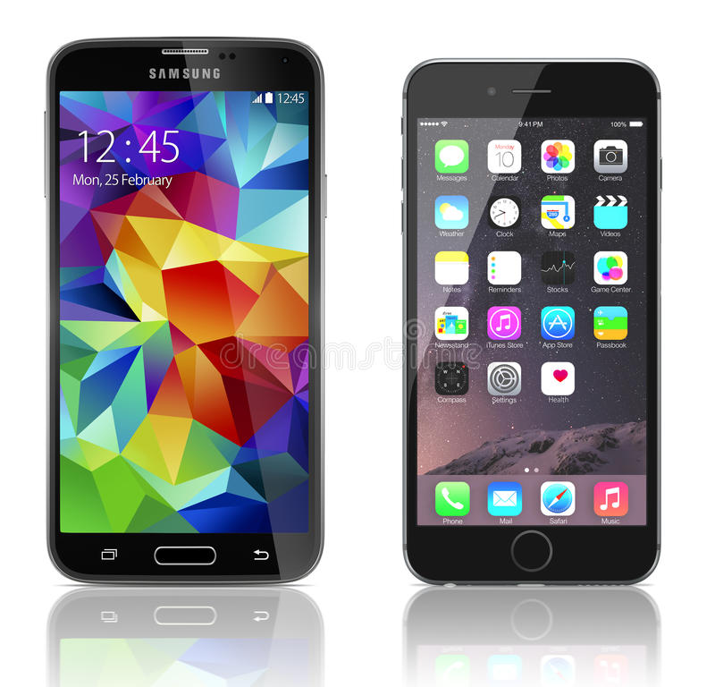 samsung s5 vs iphone 6 samsung galaxy s5 vs apple iphone 6 editorial photography 17986