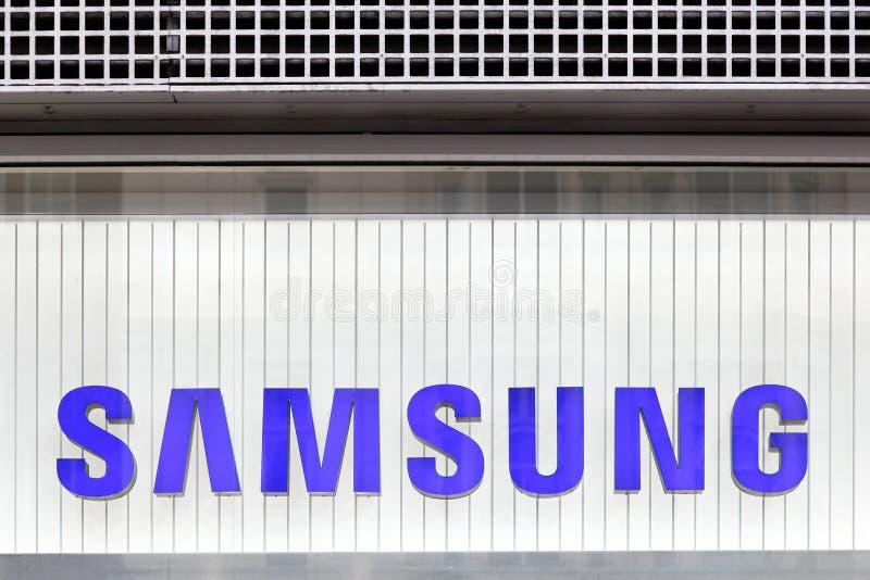 Samsung logo na ścianie fotografia stock
