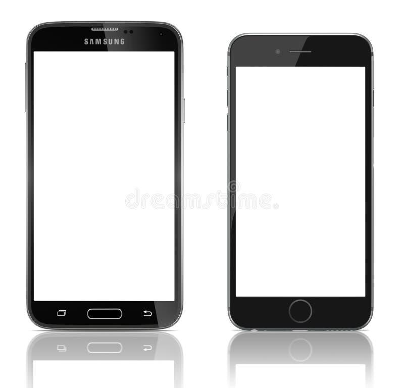 Samsung-Melkweg S5 versus Apple-iPhone 6 royalty-vrije illustratie