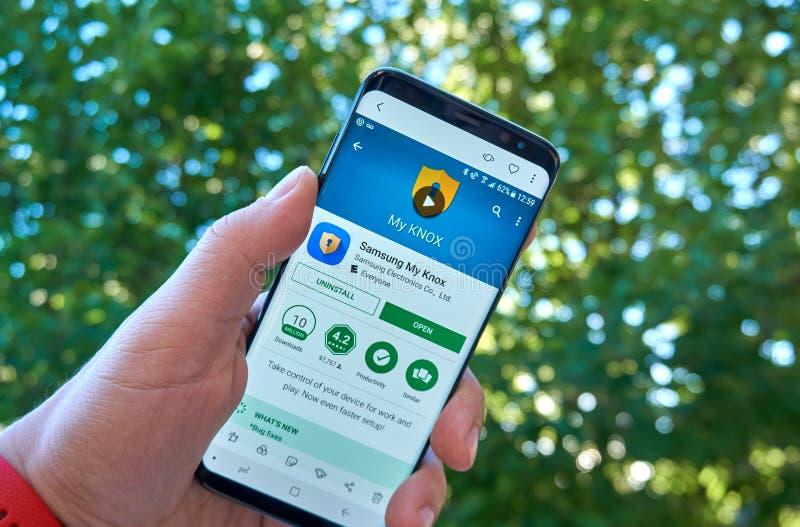Samsung mon appli mobile de Knox sur Samsung s8 images stock