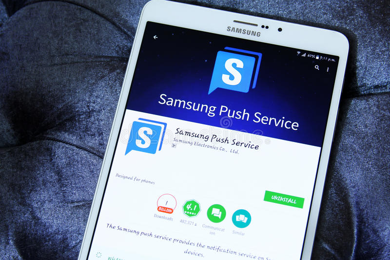 Samsung push service app. Lication on samsung tablet stock image