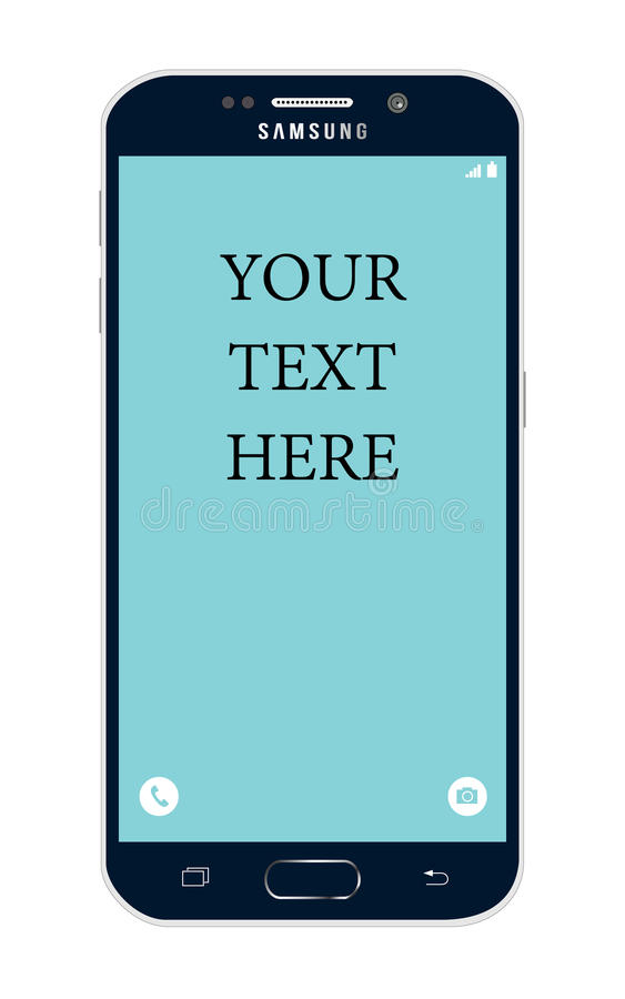 Samsung s6 edge with modifiable text on the screen. royalty free stock photos