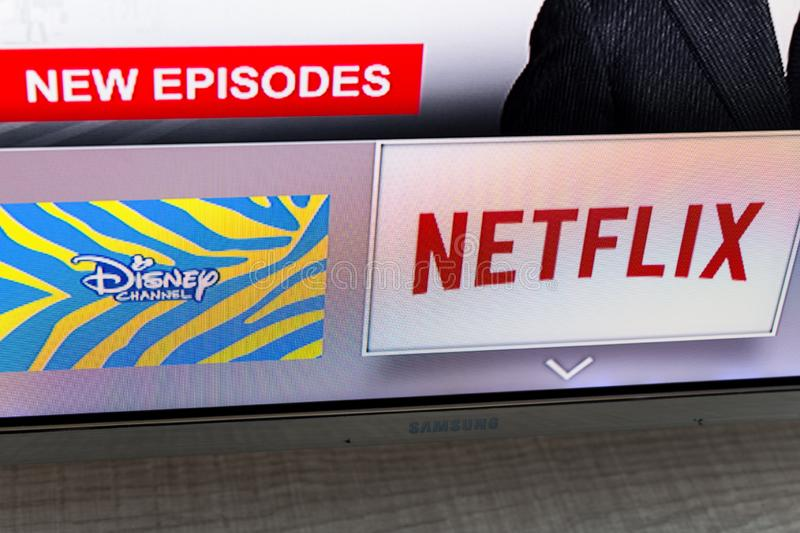 Samsung smart TV with video streaming apps: Disney and Netflix. MADRID, SPAIN - NOVEMBER 17, 2018. Samsung smart TV with video streaming apps: Disney and Netflix royalty free stock image