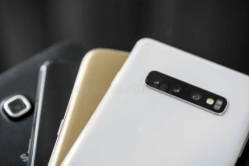Samsung smartphones with different types. JAKARTA - Indonesia. March 21, 2019: Close up of Samsung Galaxy smartphones with different types on the table royalty free stock photo