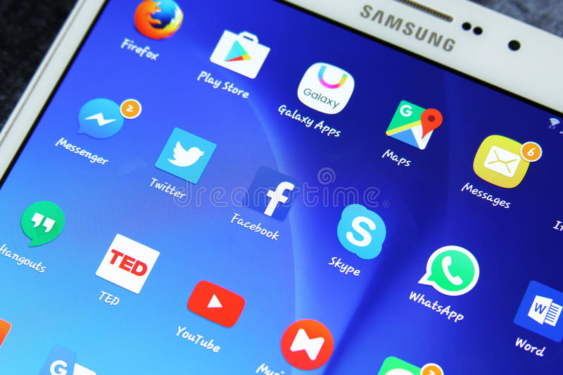 Social media network applications icons. Shot of samsung new tablet tab s2 with 8 inch touchscreen displaying touchscreen applications such as Google maps stock photo