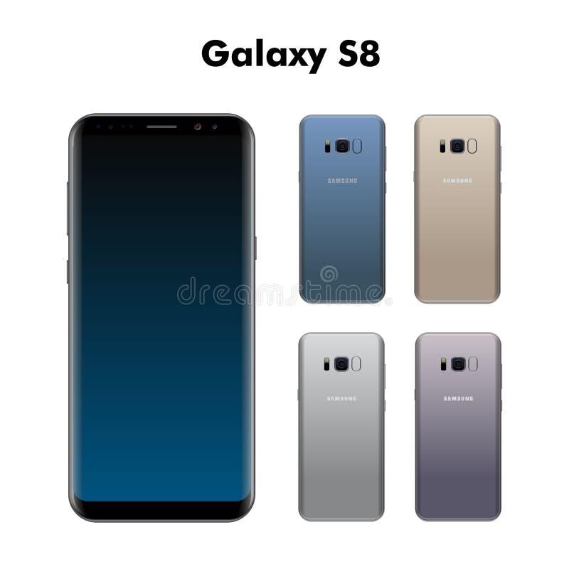 Samsungs-Galaxie S8, die auf weißem Hintergrund mit verschiedenen Farben lokalisiert wird, vector Illustration vektor abbildung