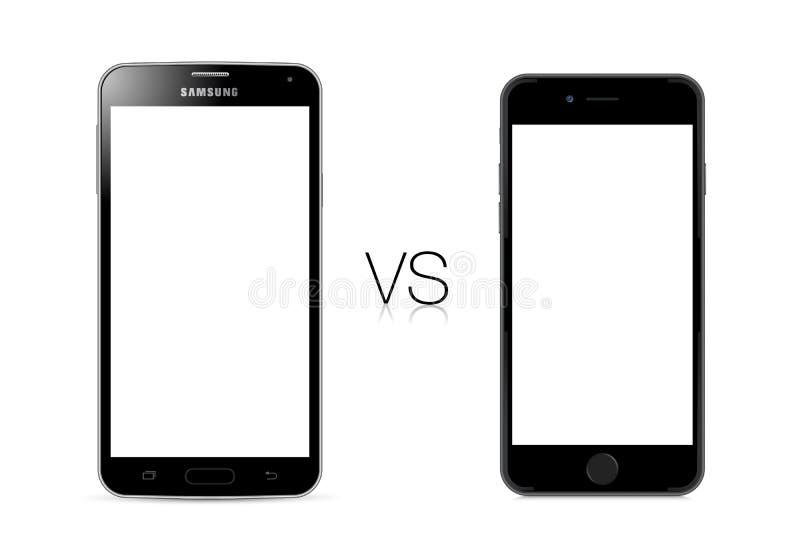 Samsungs-Galaxie S5 gegen Apple-iPhone 6 stock abbildung