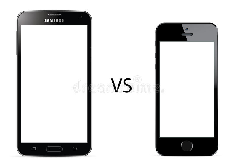Samsungs-Galaxie S5 gegen Apple-iPhone 5s stock abbildung