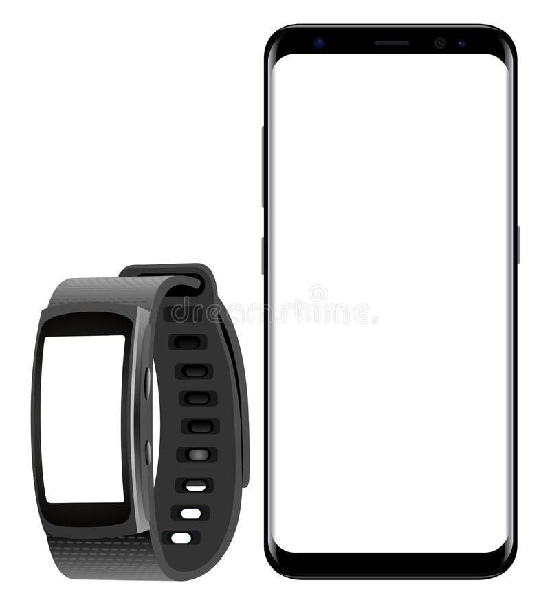 Samsungs-Galaxie S8 und Smartwatch-Gang-Sitz vektor abbildung