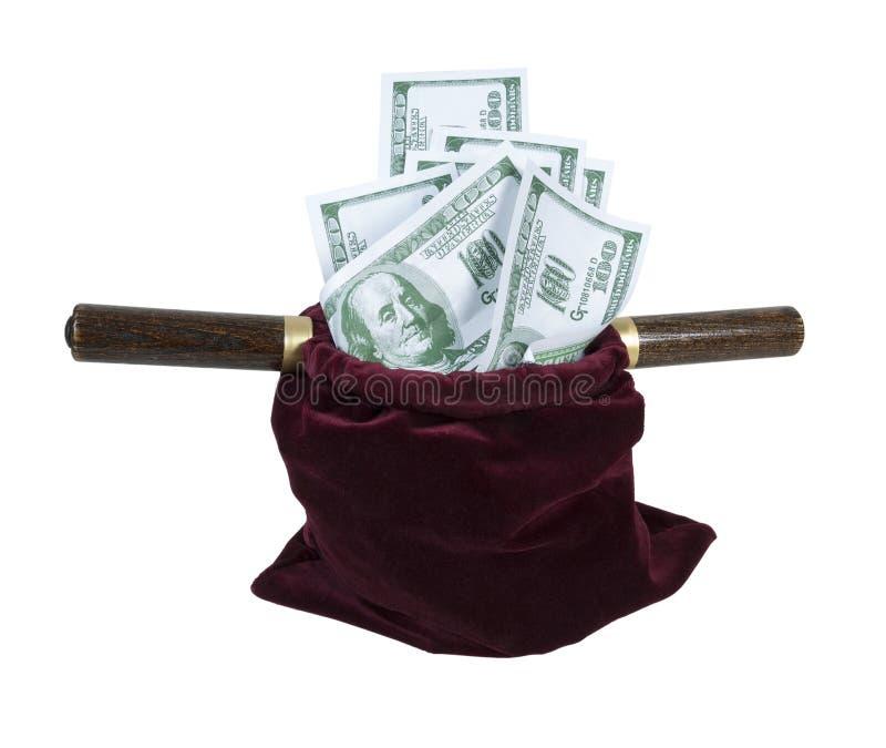Samt-anbietenbeutel voll des Geldes lizenzfreie stockfotografie