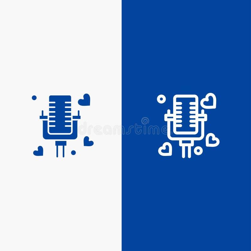 Samtal, förälskelse, gift och baner för blå för baner att gifta sig för linje och för skåra för fast symbol blått symbol för linj vektor illustrationer