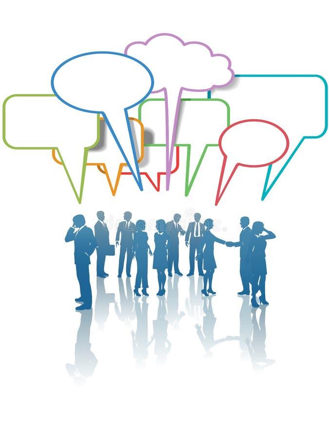 samtal för folk för nätverk för affärskommunikationsmedel stock illustrationer
