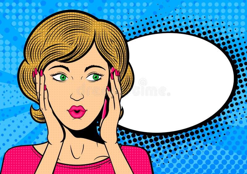 Samtal för kvinna för popkonst på mobiltelefonen Förvånad kvinnlig framsida med anförandebubblan royaltyfri illustrationer