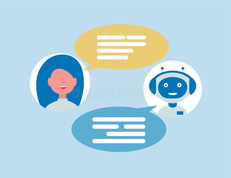Samtal för pratstundbotrobot med kvinnan vektor illustrationer