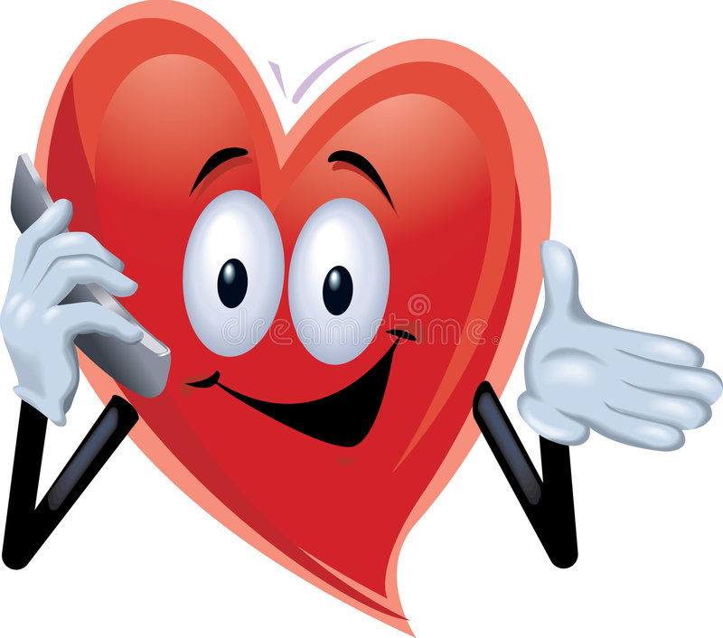 samtal för telefon för cellhjärtaman vektor illustrationer