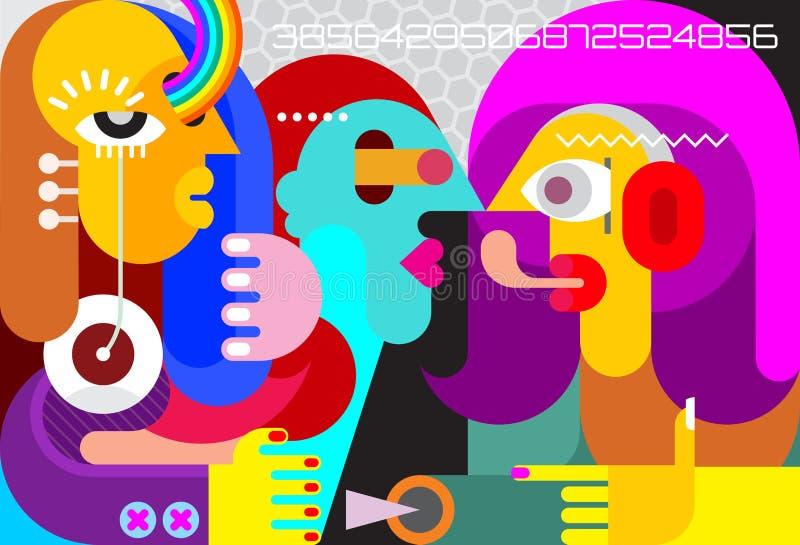 Samtal för tre personer stock illustrationer