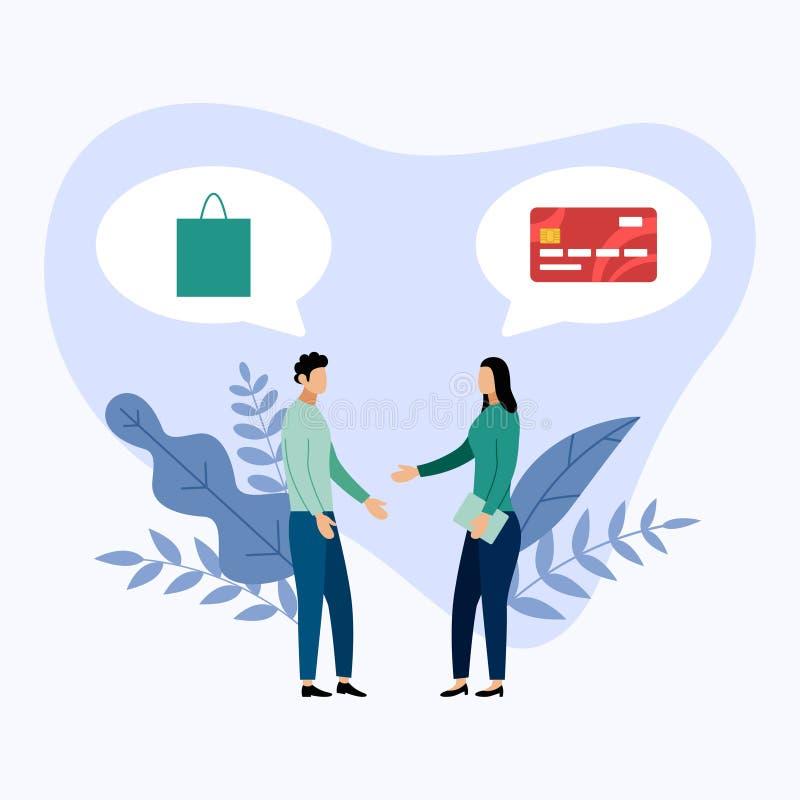Samtal för två personer om debitering eller kreditkortbetalning royaltyfri illustrationer