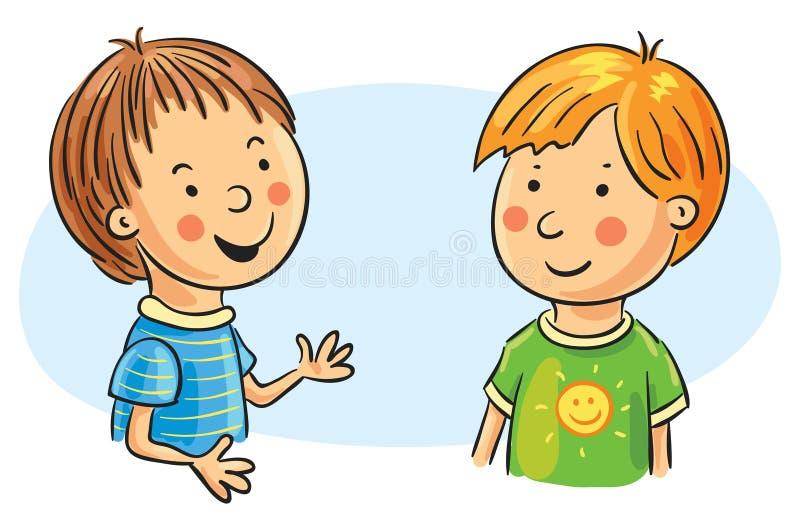 Samtal för två tecknad filmpojkar vektor illustrationer