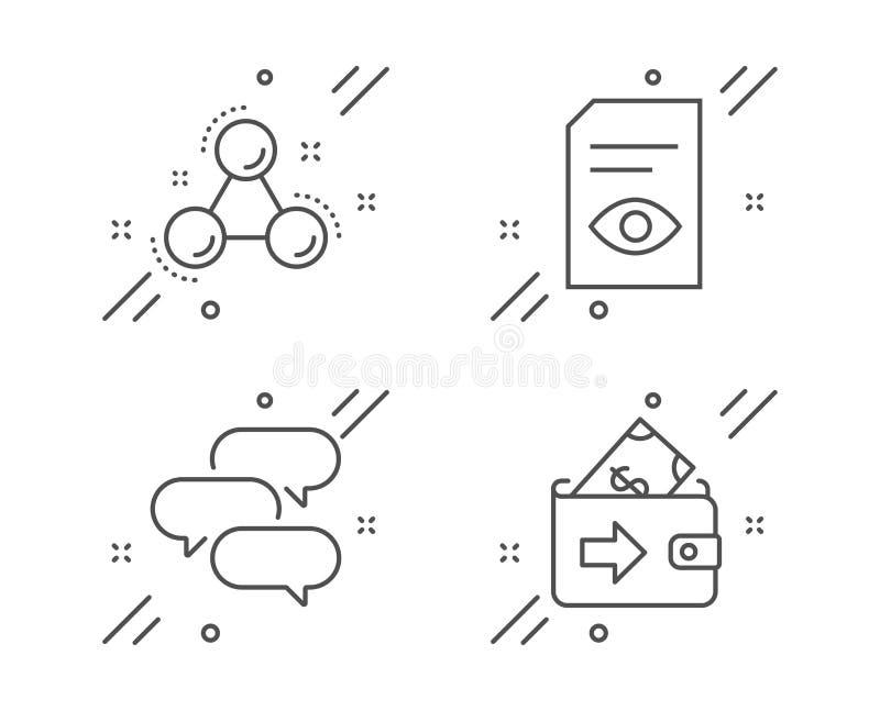 Samtalbubbla, siktsdokument och uppsättning för kemimolekylsymboler Pl?nboktecken vektor stock illustrationer