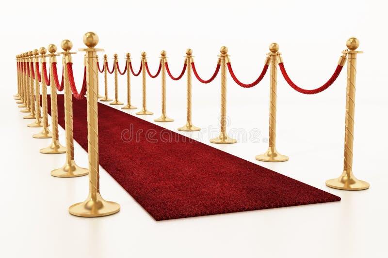 Samtfesseln und goldene Sperren entlang dem roten Teppich Abbildung 3D stock abbildung