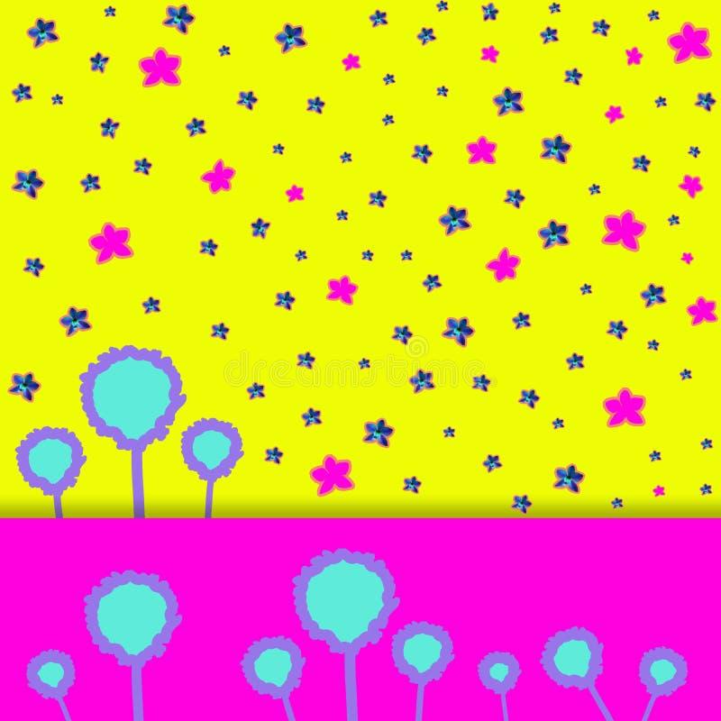 Samtida konstcollage med den härliga blåa och rosa orkidén på färgrik abstrakt bakgrund vektor illustrationer