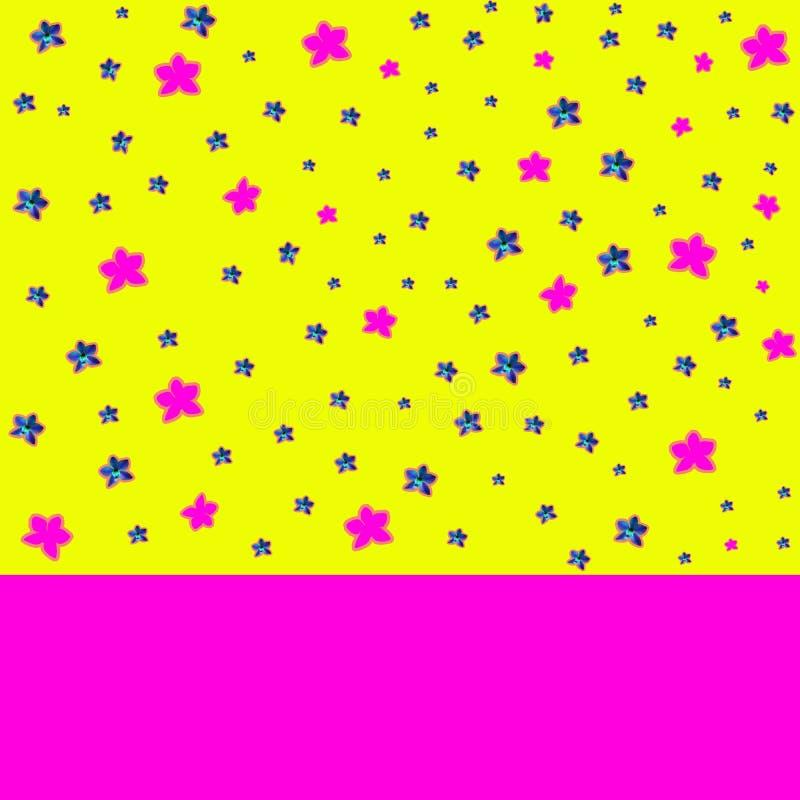 Samtida konstcollage med den härliga blåa och rosa orkidén på färgrik abstrakt bakgrund royaltyfri illustrationer