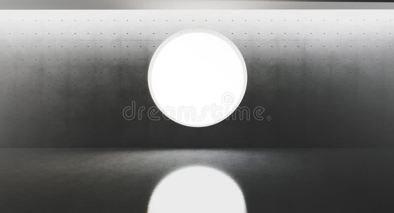 Samtida och futuristisk inre med det runda fönstret i mitt av concretväggen och reflexioner på golvet Begrepp stock illustrationer
