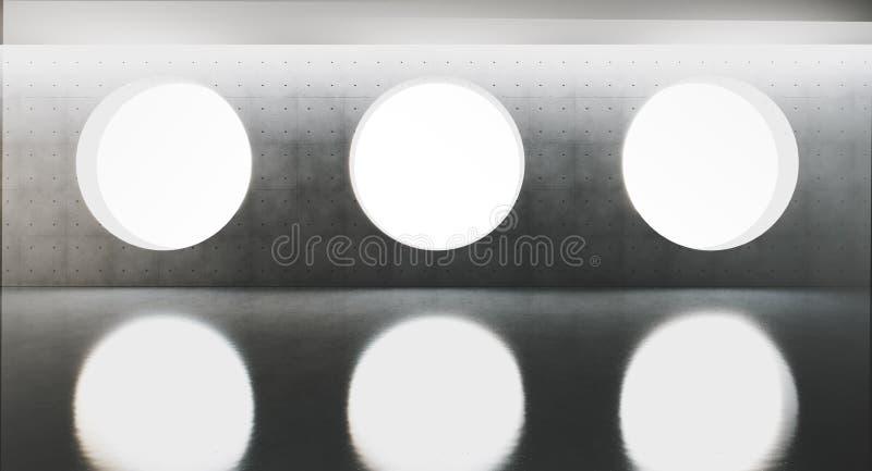 Samtida och futuristisk inre med det runda fönstret i mitt av concretväggen och reflexioner på golvet Begrepp royaltyfri illustrationer