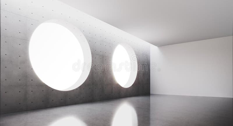 Samtida och futuristisk inre med det runda fönstret i mitt av concretväggen och reflexioner på golvet Begrepp vektor illustrationer