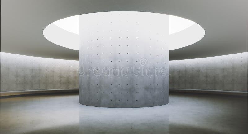 Samtida och futuristisk tom inre med naturligt ljus på concretväggen och reflexioner på golvet Begrepp av royaltyfri illustrationer