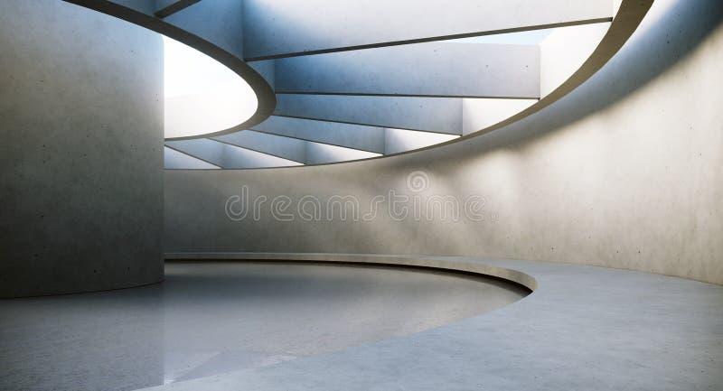 Samtida och futuristisk tom inre med naturligt ljus på concretväggen och reflexioner på golvet Begrepp av stock illustrationer