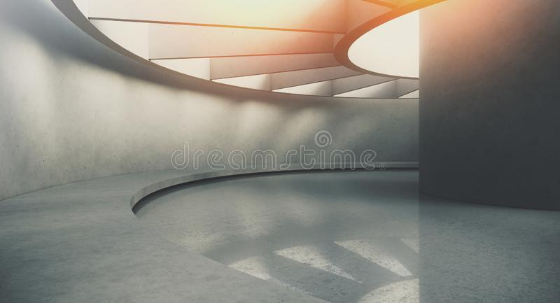 Samtida och futuristisk tom inre med naturligt ljus på concretväggen och reflexioner på golvet Begrepp av vektor illustrationer