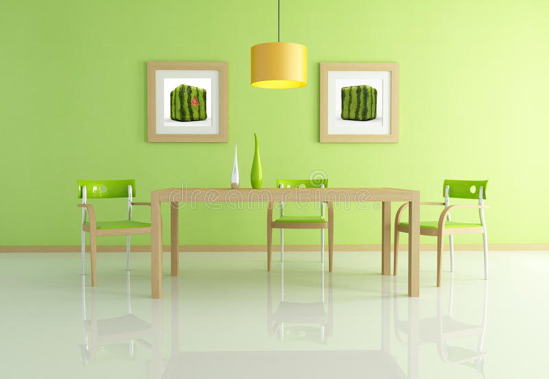 samtida som äter middag grön lokal stock illustrationer