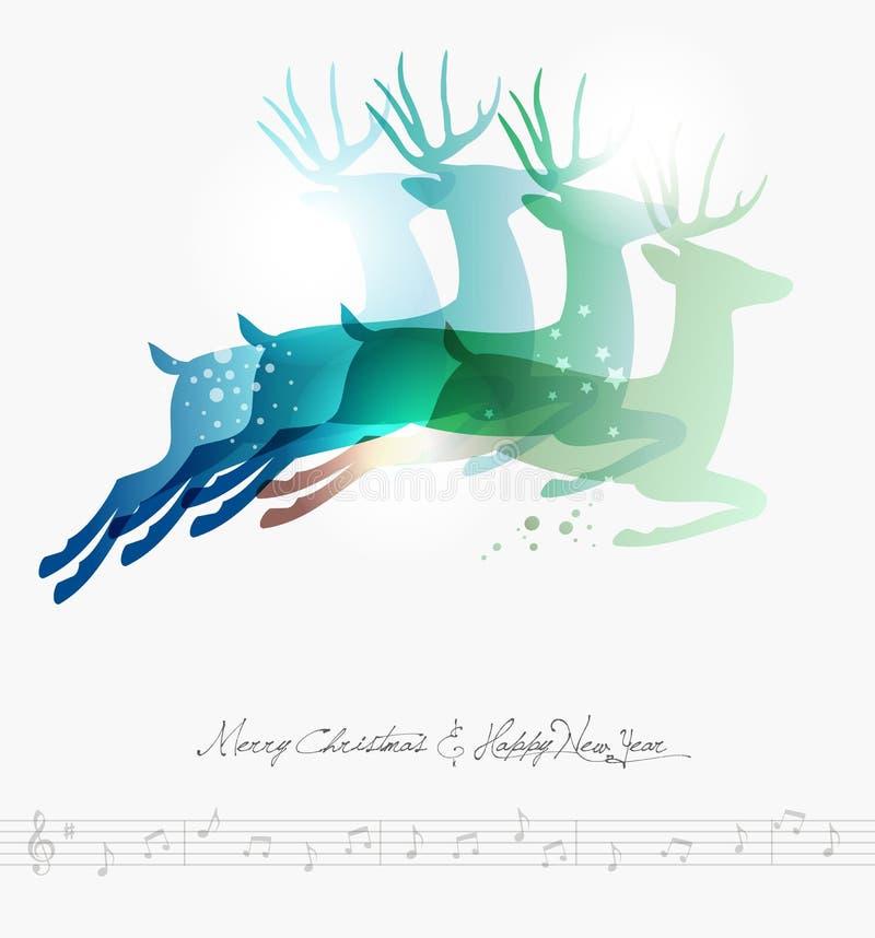 Samtidaa banhoppningdeers för glad jul stock illustrationer