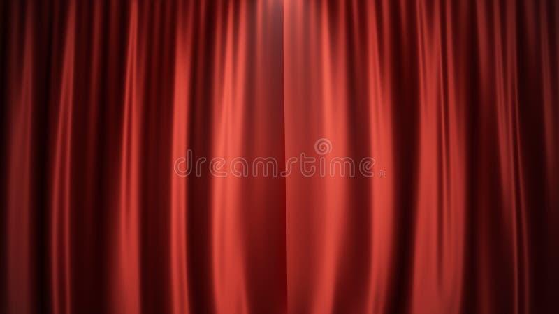 Samtvorhang-Dekorationsluxusdesign der Illustration 3D rotes silk, Ideen Roter Hauptvorhang für Theater- oder Opernszene lizenzfreie abbildung