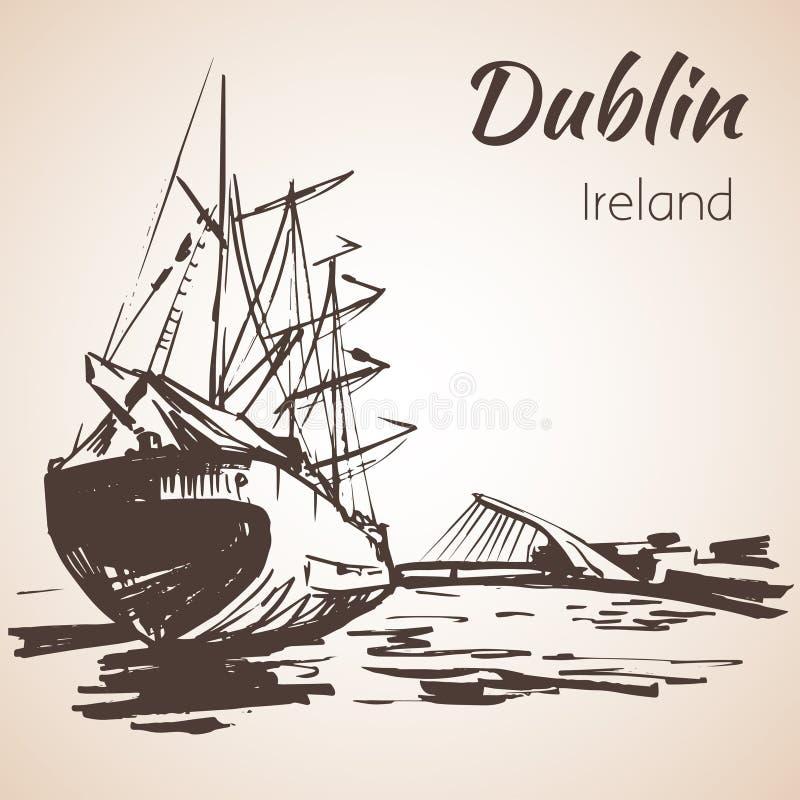 Samuel Beckett Bridge com navio grande, Dublin, Irlanda ilustração royalty free