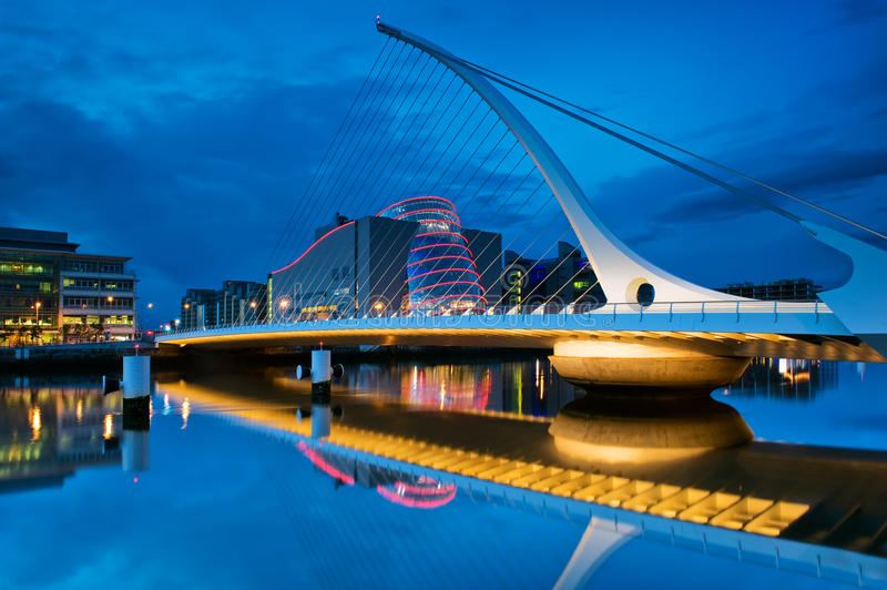 Samuel Beckett Bridge in Dublin, Ireland. The Samuel Beckett Bridge is a cable-stayed bridge in Dublin that joins the south side to the North Wall Quay in the royalty free stock images