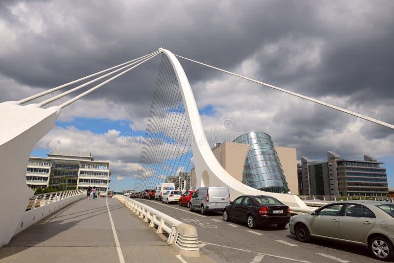 Samuel Beckett Przerzuca most krzyżować Rzecznego Liffey w Dublin fotografia royalty free
