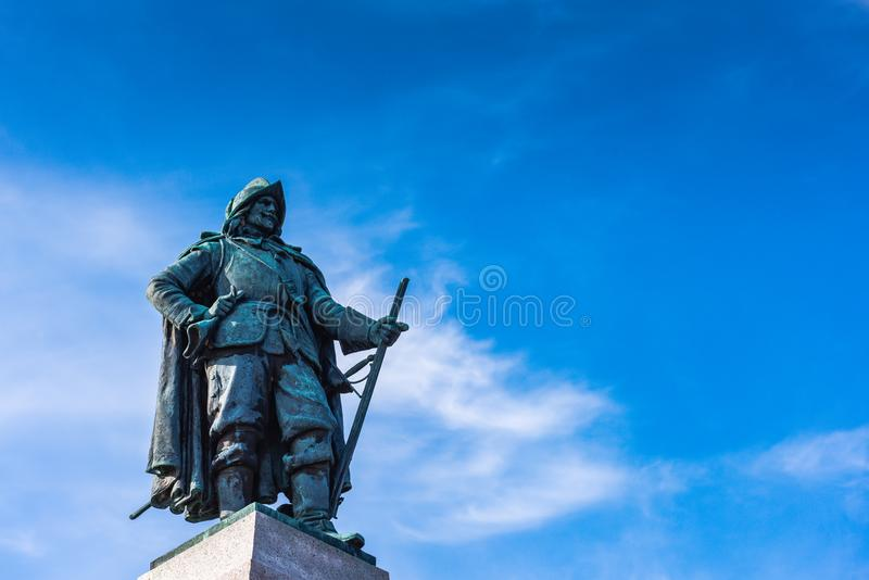 Samuel Champlain Monument Close Up. Plattsburch, NY / USA / March 23, 2016: Monument to Samuel Champlain, the `Father of New France` who is recognized in the royalty free stock photo