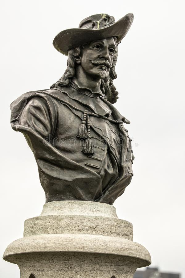 Samuel Champlain-standbeeld op voetstuk royalty-vrije stock foto's