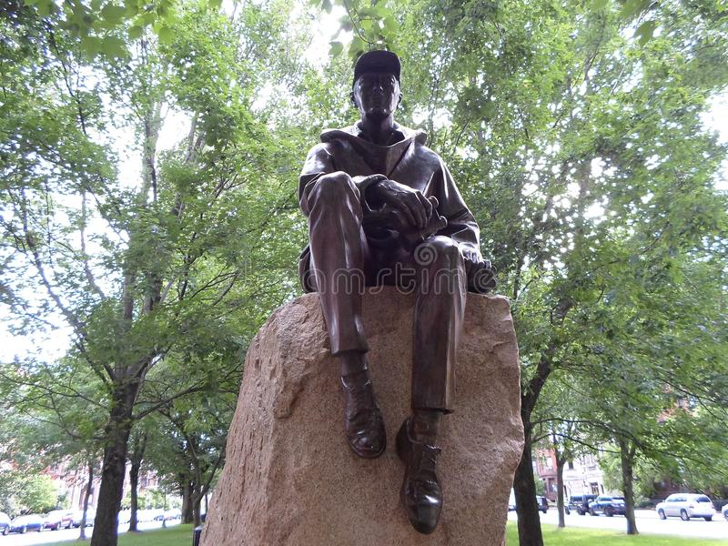 Samuel Eliot Morison statue, Commonwealth Avenue Mall, Boston, Massachusetts, USA. Bronze and granite sculpture of Harvard professor Samuel Eliot Morison statue stock photography