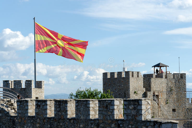 Samuel fortress with waving Macedonian flag. Samuel fortress is a fortress in the old town of Ohrid, Republic of Macedonia - popular tourist destination in the stock image