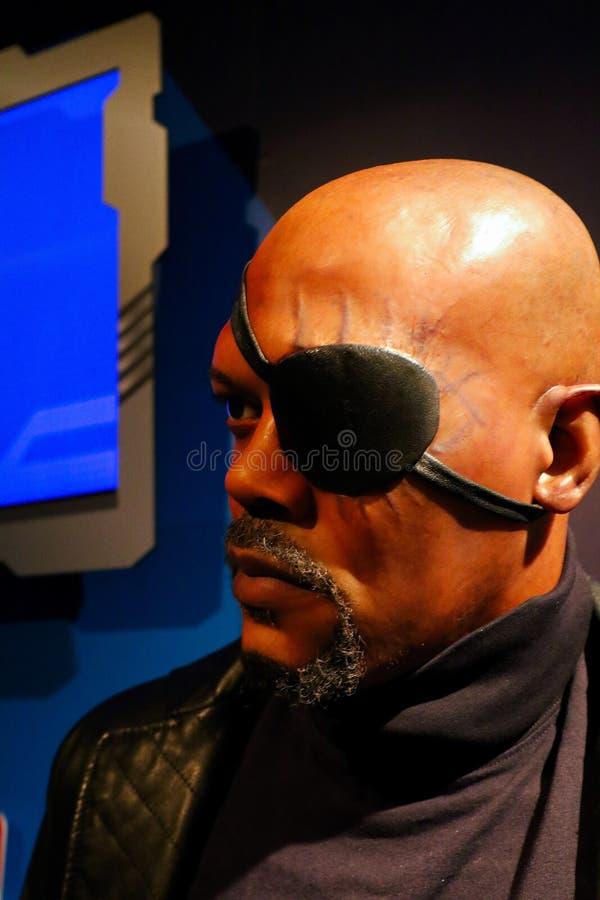Samuel L Jackson como Nick Fury, cera da senhora Tussauds foto de stock