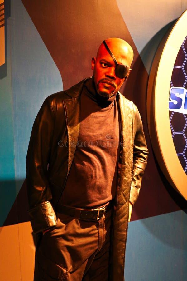Samuel L Jackson como Nick Fury, cera da senhora Tussauds imagens de stock