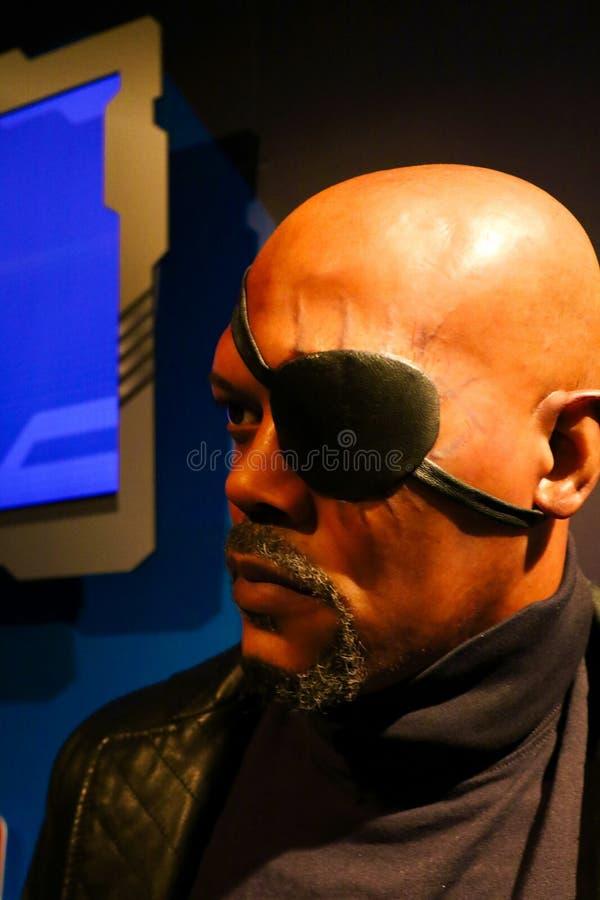 Samuel L Jackson como Nick Fury, cera da senhora Tussauds foto de stock royalty free